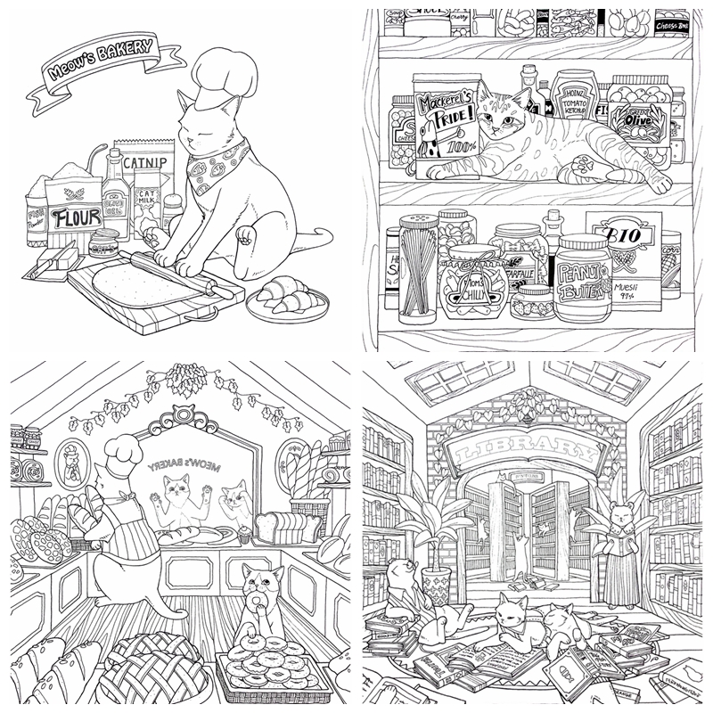 Cat Coloring Therapy Coloring Book Vol.1 - Kayliebooks
