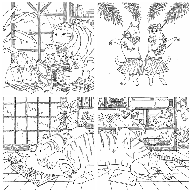 Cat Coloring Therapy Coloring Book Vol.2 - Kayliebooks